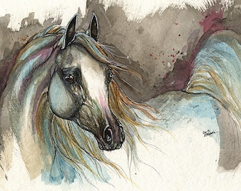 Grey arabian horse, equine art, equestrian portrait,  original pen and watercolor painting