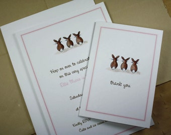 Pink Bunny Tail Set. Custom Invitations with Matching Thank You Notes. Bunnies Customized. 10 Invites, 10 Thank Yous