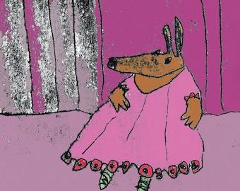 Dancing dog print, gift for dog lover, dog illustration, dog theme, dog decor, green ballet shoes, pink tutu, puppy dog, dog art, pet dog