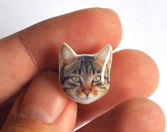 Kawaii grey (tabby) CAT pins. Cat polymer clay jewelry