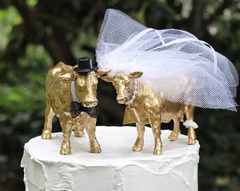 Cow Cake Topper-Gold Angus Cows-Barn Wedding Cake Topper-Animal Cake Topper-Farm Couples-Bride and Groom