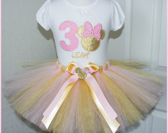 Pink and Gold Minnie Mouse tutu Birthday outfit Personalized with name and age number