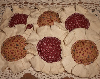 Primitive Burgundy and Mustard Calico Fabric Flowers Ornies Bowl Fillers Set of 6