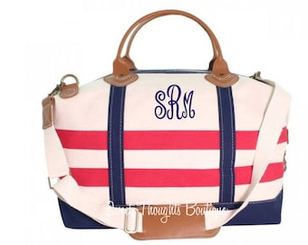 Nautical Weekender Monogrammed Bag, Monogrammed Nautical Duffel Bag, Monogrammed Overnight Bag, Carry On Bag, Bridal Party Gift