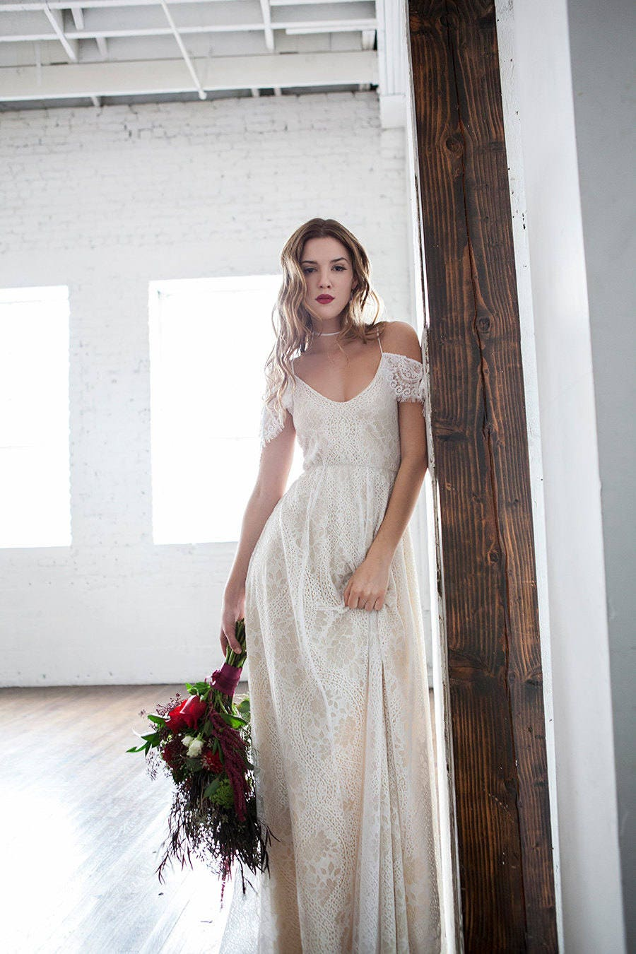Off shoulder wedding dress boho wedding dress hippie wedding for Vintage wedding dresses paris