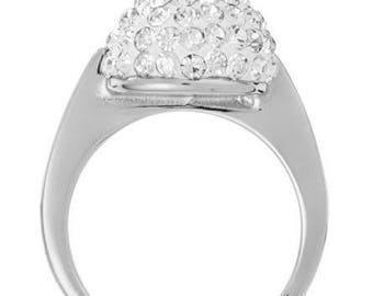 Ring size 57 Swarovski crystals and 18 k white gold plated