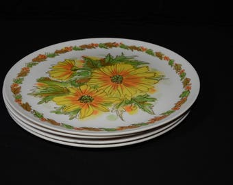 Vintage Set of 4 Dinner Plate floral design Mid century by & Daisy melmac plate | Etsy