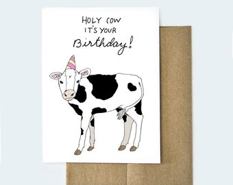 Cow birthday card funny birthday card cow art punny holy cow birthday card cow birthday card animal birthday card handmade birthday card bookmarktalkfo Images
