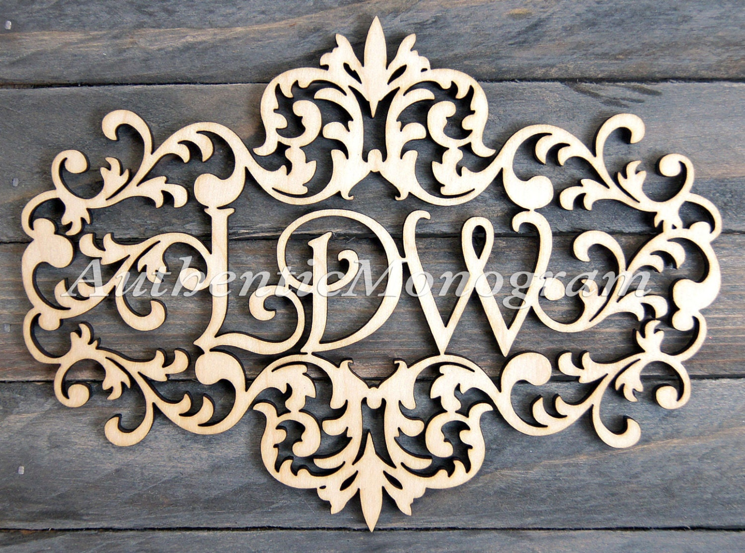 Personalized Gift Wooden Monogram   VICTORIAN FRAME MONOGRAM   Unpainted  Monogram   Home Decor   Wedding Monogram   Door Hanger   Wedding