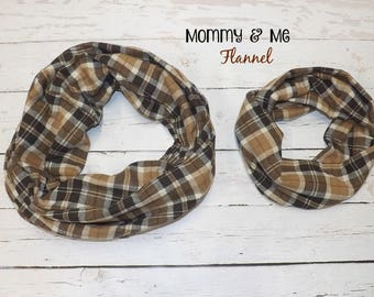 Mommy and Me Bob's Brown Plaid FLANNEL Check Shirting Infinity Scarf Fall Winter Women's Child's Accessories