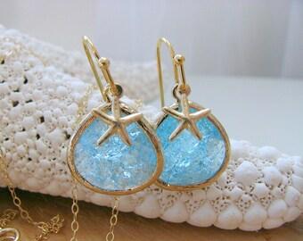 Aquamarine Earrings & Starfish Earrings 14k Gold Filled Starfish Starfish Earrings Beach Wedding Bridesmaid Gift march birthstone earrings