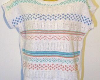vintage cap sleeve sweater textured geometric pastels size L large