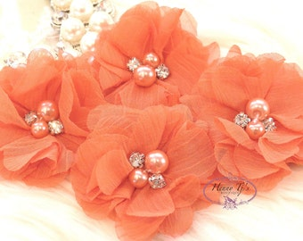 NEW: 4 pcs Aubrey ORANGE - Soft Chiffon with pearls and rhinestones Mesh Layered Small Fabric Flowers, Hair accessories