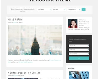 WordPress Theme - Genesis Child Theme - Responsive WordPress Theme - Blog theme template: Klassisk
