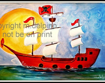 Pirate Ship print painting nautical pirate theme nursery boys room personalize 11 x 17