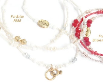 FREE BRIDE WAISTBEADS With Purchase of 6 Bridesmaids Waist beads; Pick Your Sizes & Colors; Personalized Bridesmaid Gift; Wedding Waistbeads