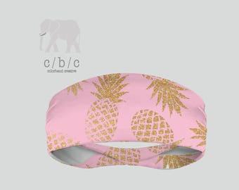 Pink Pineapples Headband, Yoga Headband, Fitness Headband, Running Headband, Indie Headband, Custom Headband, Girls Headband