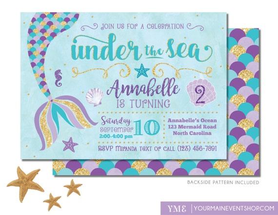 Mermaid birthday invitation mermaid invite under the sea like this item stopboris Gallery