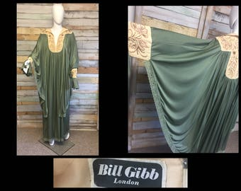 Bill Gibb 70's kaftan batwing 'Bees' dress with sequins and beads. O/S