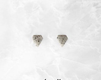 LIGHT GRANITE Diamond Stud Earrings,Simple Matte / mens or womens studs,men's jewelry,simple everyday studs,gift for him,marble gray studs