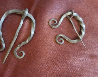Hand-forged Penannular Cloak-pin, Twisted Brooch-pin, Shawl- & Scarf-pin