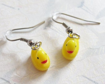 Yellow duck earrings, duck jewelry, earrings for children, bath toy jewelry, duckling, animal, gift for child, christmass gift