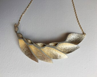 Petal Collection: Gold Metallic Leather Petal Necklace