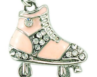 Antique Pink Enamel Roller Skate Charm - Clip-On - Ready to Wear