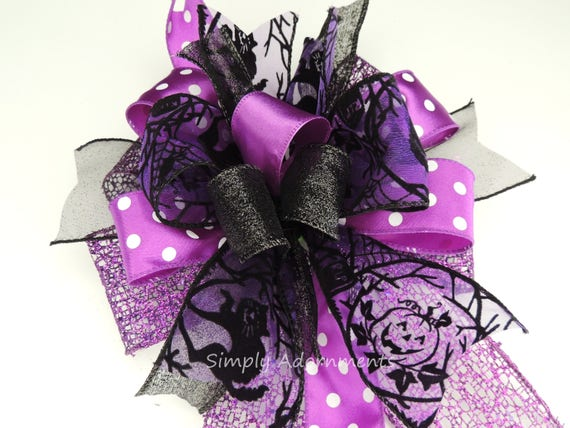 Purple Black Cat Halloween Wreath Bow Halloween Lantern Bow Black Purple Jack o Lantern Halloween Door Bow Purple Halloween Party Decor