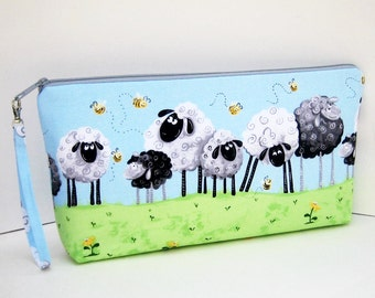 Knitting Project Bag, Large Zipper Pouch, Sheep in the Meadow