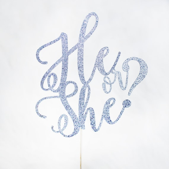 He or She Cake Topper - Glitter - Pregnancy Announcement. Baby Shower. Gender Reveal Party Decor. Gold Party Decor. Custom Cake Topper.