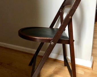 Vintage Stakmore Wood Folding Chair | Mid Century Folding Wood Chair |  Bentwood Folding Chair |