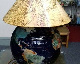 Globe table lamp !!! Re-purposed globe+shade.Earthed with new fittings & antique style flex used. Collection ONLY(sorry)from Wickham, Hants