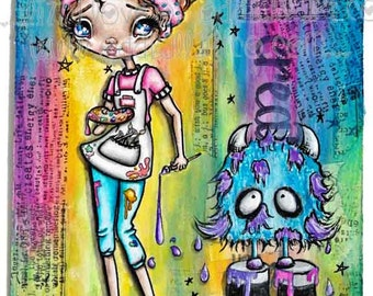 """Big Eye Art """"Color My World"""" Giclee Print Signed Reproduction by Lizzy Love [IMG#155]"""