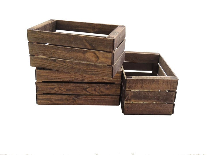 3 small wooden crates fully assembled and dyed dark brown - Small Wooden Crates