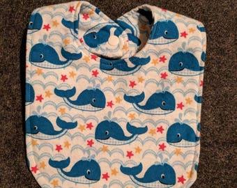 Adorable nautical whale handmade baby bib