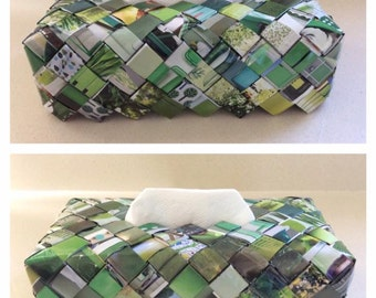 Tissue Box Holder, Tissue Box Cover, Housewarming gift, Upcycled Newspaper, Home decoration, Home gift, Napkin box, Kleenex box, Woven Box