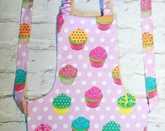 Girls, pink, cupcake, polka dot, baking apron, apron, baking,