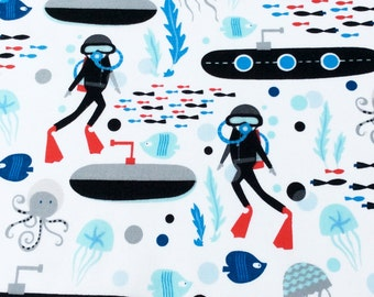 Fabric, Come Dive With Me on White, Scuba Divers Submarines, Octopus, Windham Fabrics, One Yard or More