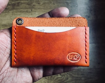 Handmade Leather pocket wallet/credit card holder/business card holder in brown/black/natural leather