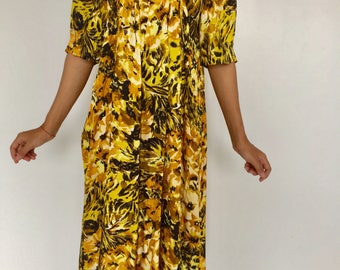 Yellow and gold satin vintage dress