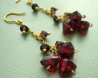 party time - red quartz vermeil earrings