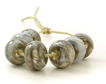 Dove Grey Lampwork Glass Beads   Lilac Grey Glass Bead Set   Lampwork Beads   Handmade Beads   UK SRA   Artisan beads