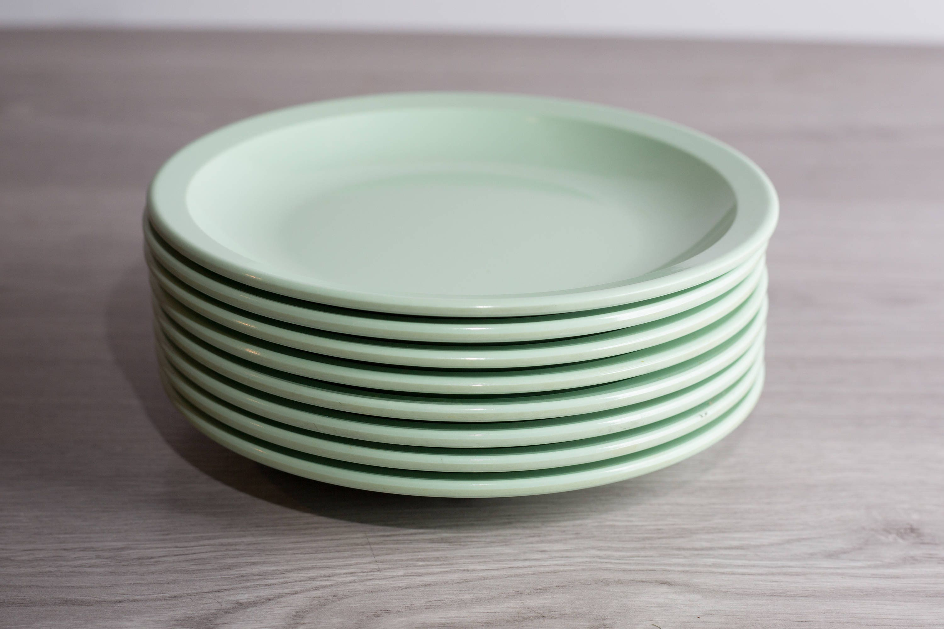 Vintage Melmac Melamine Plates / 8 piece Set Soft Green Dinnerware Dinner Plates by GPL Melmac / Made in Canada / Pastel C&ing Bowls & Vintage Melmac Melamine Plates / 8 piece Set Soft Green Dinnerware ...
