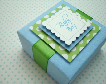 Boîtes de bébé personnalisé garçon, bleu et vert, ensemble de dix