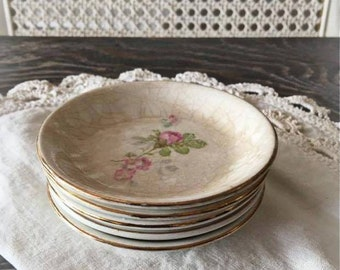 Set of Five Shabby Victorian Butter Pat Plates Pink Roses & Victorian dinnerware | Etsy