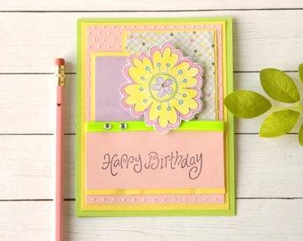 Floral Birthday Card - Mom Birthday Card - Bday Card Girlfriend - Aunts Bday Card - Happy Birthday Her - Bday Greetings Cards