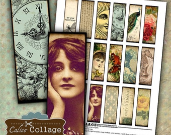 Eclectic Dreams, Collage Sheet, 1x3 Collage Sheets, Microslide Images, for Pendants, Decoupage Paper, Printable Images, Calico Collage