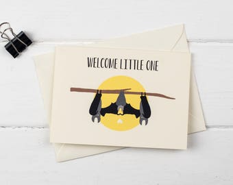 Bats- welcome little one- new baby greetings card
