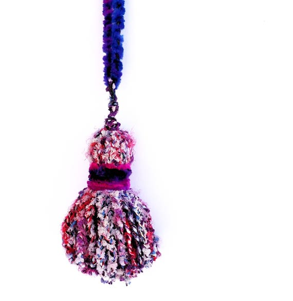 Giant Over Sized Braided Yarn Tassel in Nubbly Purple, Pink and Blue
